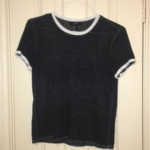 Charcoal gray Forever21 tee w/ white trim